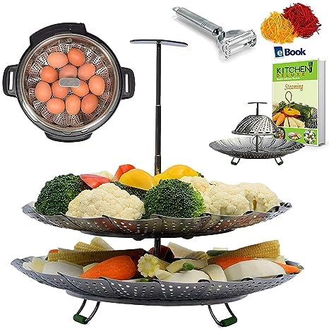 1e4a5dcc49 Kitchen Deluxe 2-TIER Vegetable Steamer Basket - Extendable Handle - Fits  Instant Pot -