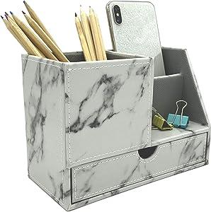 UnionBasic PU Leather 4 Compartment Desk Organizer Card/Pen/Pencil/Mobile Phone Office Supplies Holder Collection Desktop Organizer (NEW Marble White (L))