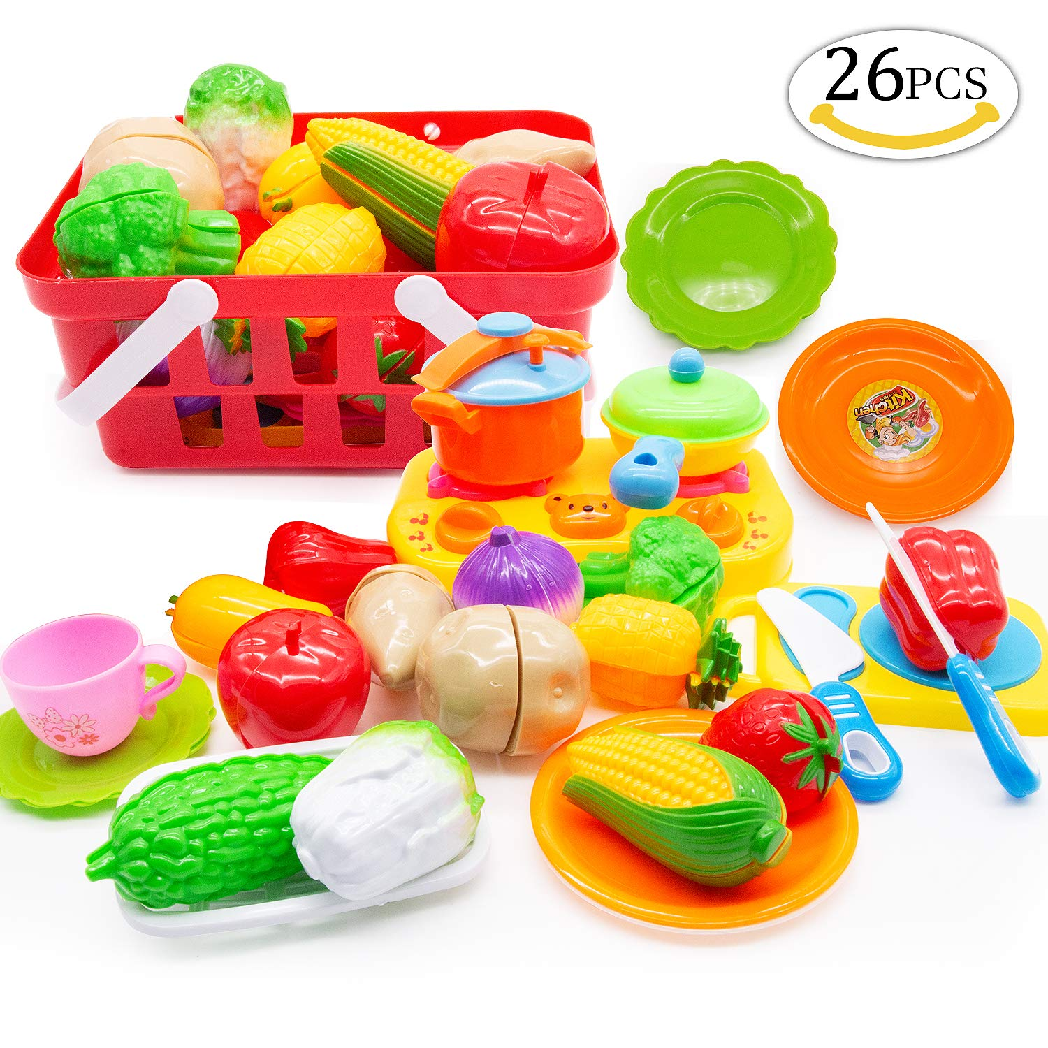 26pcs Cutting Food Toys, Yansion Fruits Vegetable Food Cutting Set and Kitchen Cooking kits Fun Pretend Food Play Set Toys Cookware Accessory for Kids Toddlers Child Early Age Development Educational Learning Resources Christmas Gifts
