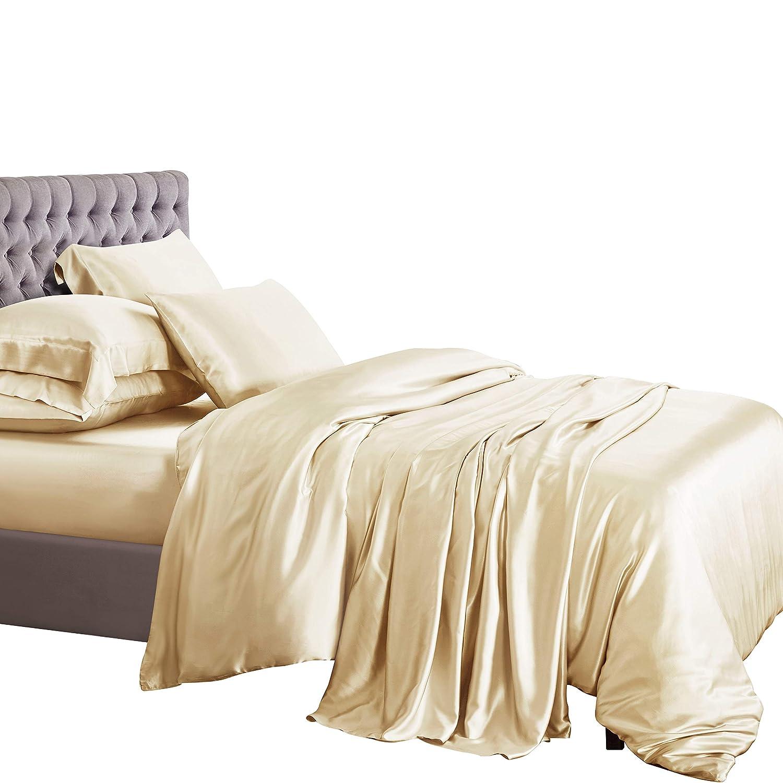 ElleSilk 3-teiliges Seiden Bettbezug Set, Seiden Bettwäsche Set aus 100% Reiner Seide, 22 Momme, 600 Fadendichte, weich und anschmiegsam, 135 x 200cm - Cremefarbe