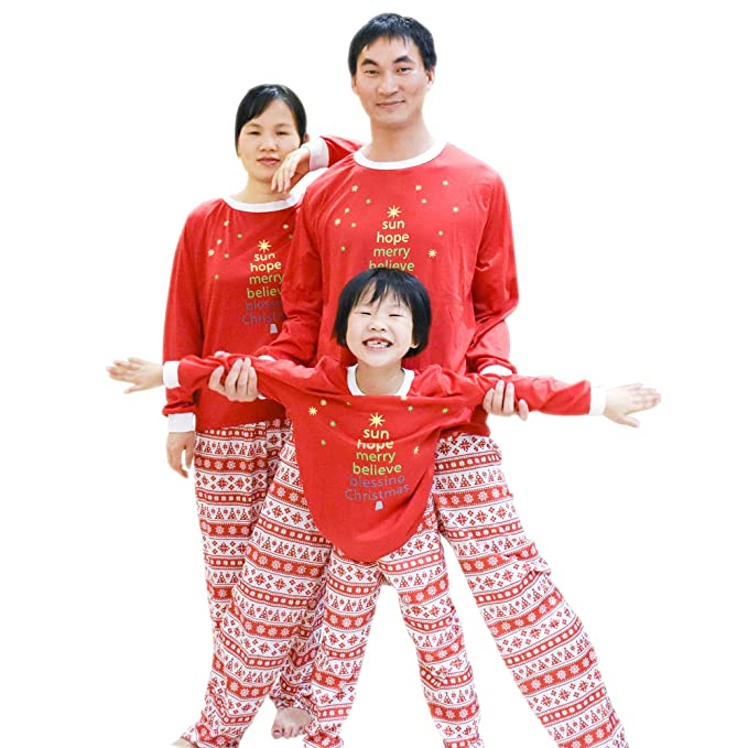 42801dc738 BOZEVON Set per Pigiama per la Famiglia - Maniche Lunghe T-Shirt con Stampa  Albero