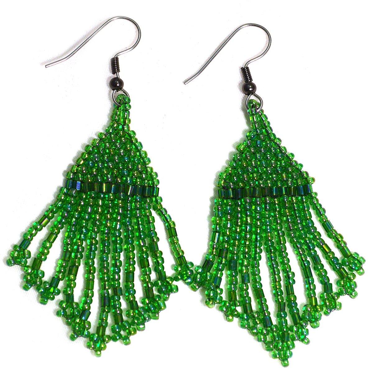 Triangle Flame Earrings Native American style boho earrings seed bead yoga jewelry tribal earrings beaded fringe earrings festival earrings