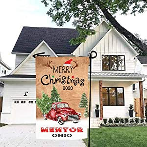 Merry Christmas Garden Flag Red Truck 2020 Mentor Ohio State - Rustic Winter Garden Yard Decorations, Outdoor Flag 12x18 Inch Double-Sided for Home, Garden (Not Included Stand)