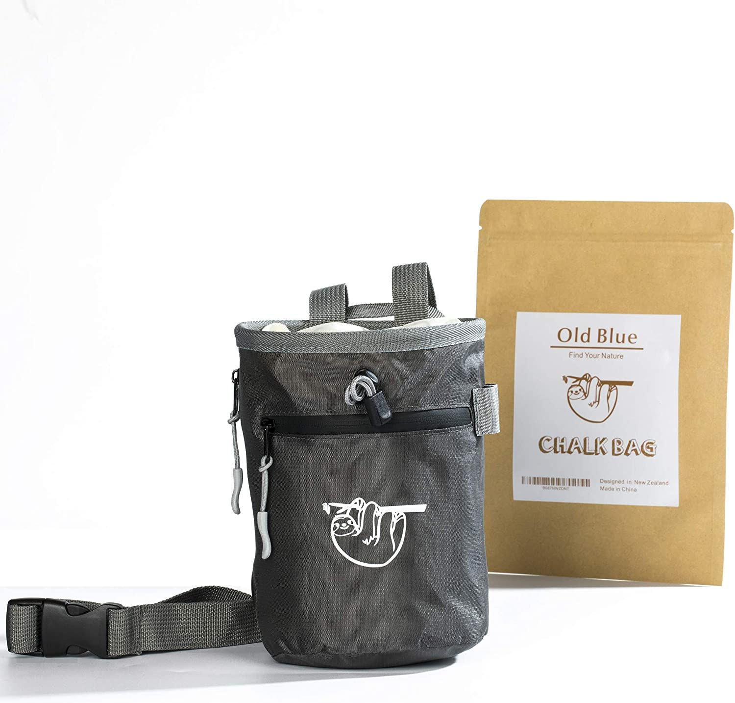 Old Blue Chalk Bag Crossfit with 2 Large Zipper Storage Pockets Perfect Gymnastics Gear Equipment and Gift Set Refillable Gym Chalk Pouch Bucket for Rock Climbing and Weight Lifting
