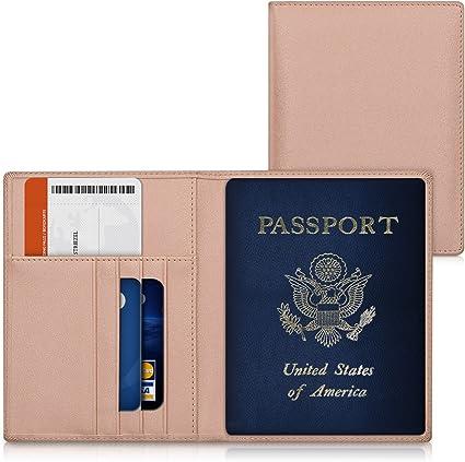 kwmobile Funda para pasaporte de cuero sintético compatible con pasaporte - Estuche con ranuras para tarjetas en oro rosa: Amazon.es: Oficina y papelería