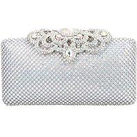 Fawziya Crown Clutch Purse Bling Hard Box Rhinestone Crystal Clutch Bag