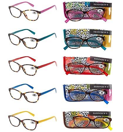 Pack 5 Gafas Lectura Vista Cansada Presbicia, Graduadas Dioptrías +1.00 hasta +4.00, con Montura de Pasta, Bisagras de Resorte, Para Leer, Unisex ...