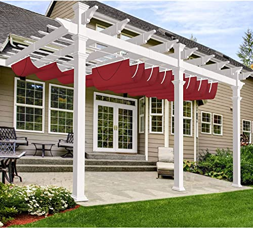 Windscreen4less Outdoor Waterproof Retractable Pergola Replacement Shade Cover Wave Sail Awning Slide on Wire Shade for Deck Patio Backyard 3 X16 Red