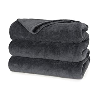 Sunbeam Heated Blanket | Microplush, 10 Heat Settings, Slate, Twin - BSM9KTS-R825-16A00