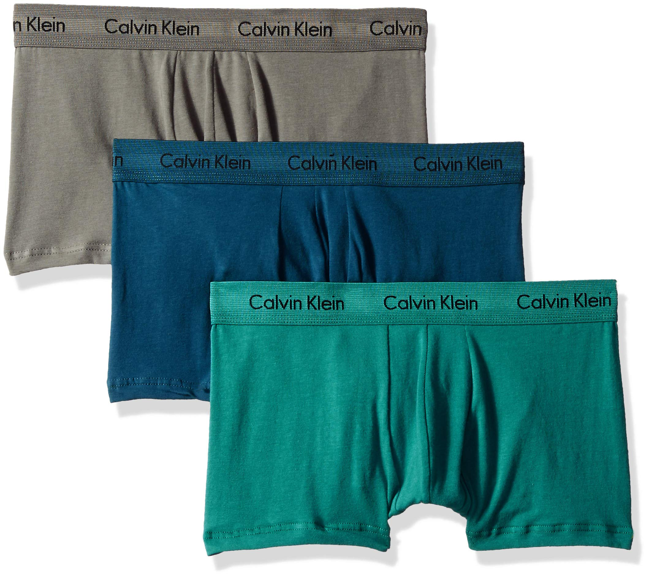 Calvin Klein Men's Cotton Stretch 3 Pack Low Rise Trunks, Grey Sky/majollca/Raleigh, S