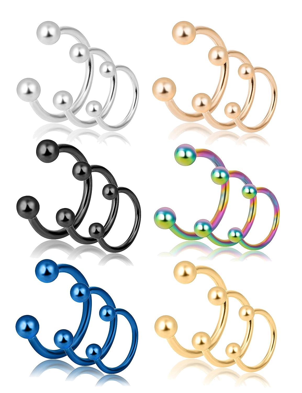 REVOLIA 18Pcs 16G 316L Stainless Steel Nose Rings Cartilage Ear Septum Piercings Helix Tragus Horseshoe 8-12mm SBPR18-18pcs