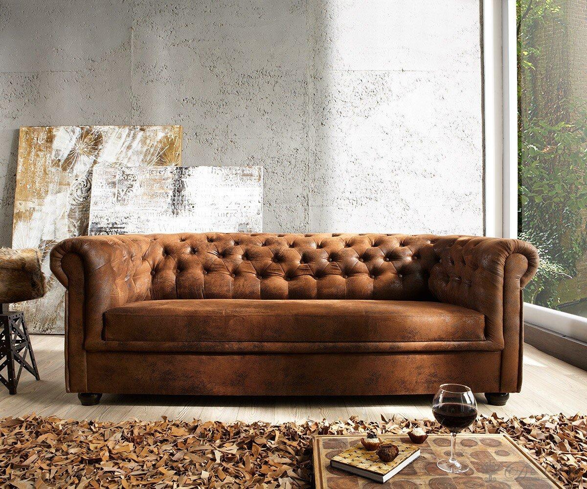 Couch Chesterfield Braun 200x92 cm Antik Optik abgesteppt 3-Sitzer