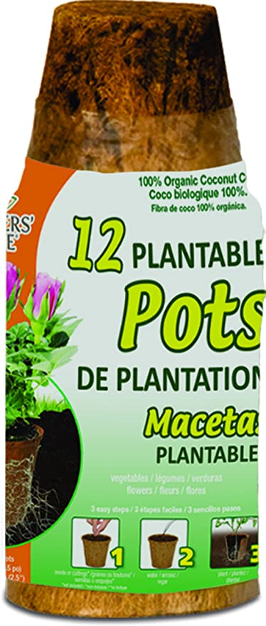 Planters Pride RZR02252 2 25 Round Fiber Grow Coconut Coir Pots, 12-Pack