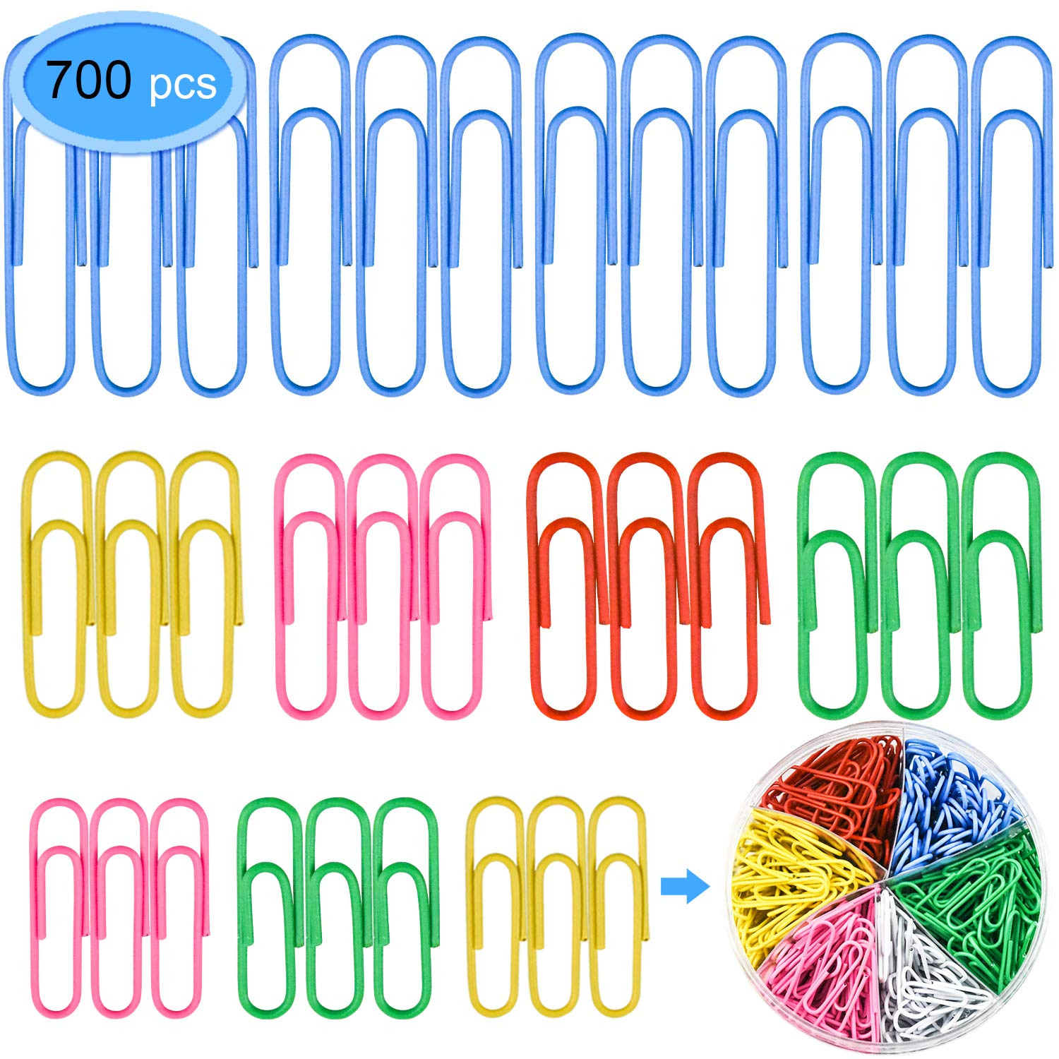 Colored Paper Clips 700 Pieces Colors EAONE Vinyl Coated Metal Paper Clips 50mm 33mm 28mm Document Paper Organizer Clips for Office School Home