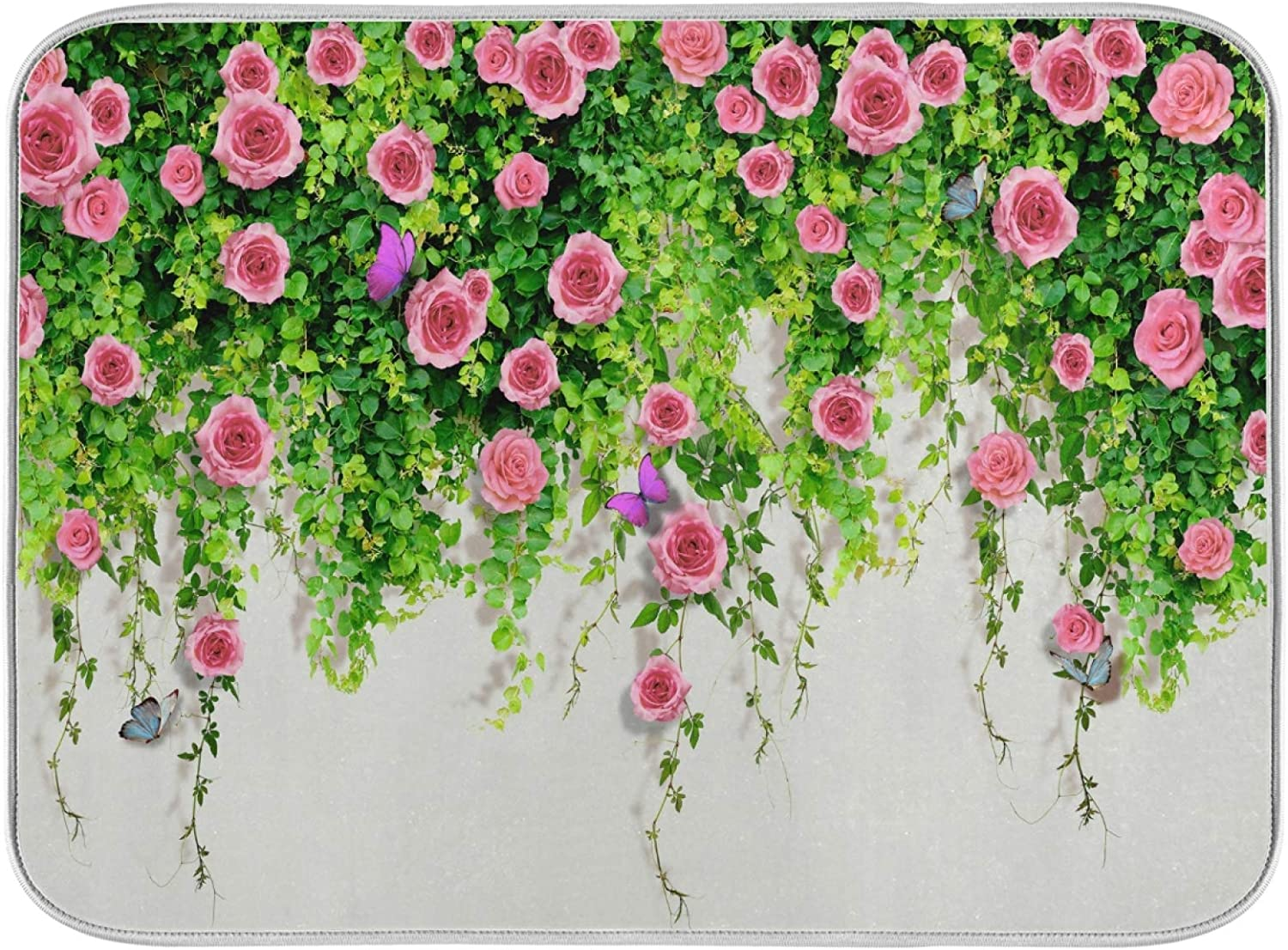 3D Pink Roses With Butterflies On A Living Wall Of Greenery Dish Drying Mat Kitchen Home Decor Absorbent Dishes Dry Pad 18x24 Inch Easy Clean Drainer Mats for Baby Bottle Countertops