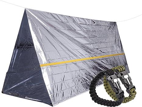 STEPS Refugio de Supervivencia de Emergencia Mylar Tienda, Incluye 2-Pack Pulsera Supervivencia, Equipo Esencial de Supervivencia para Go-Bags, Camping, Exploración: Amazon.es: Deportes y aire libre