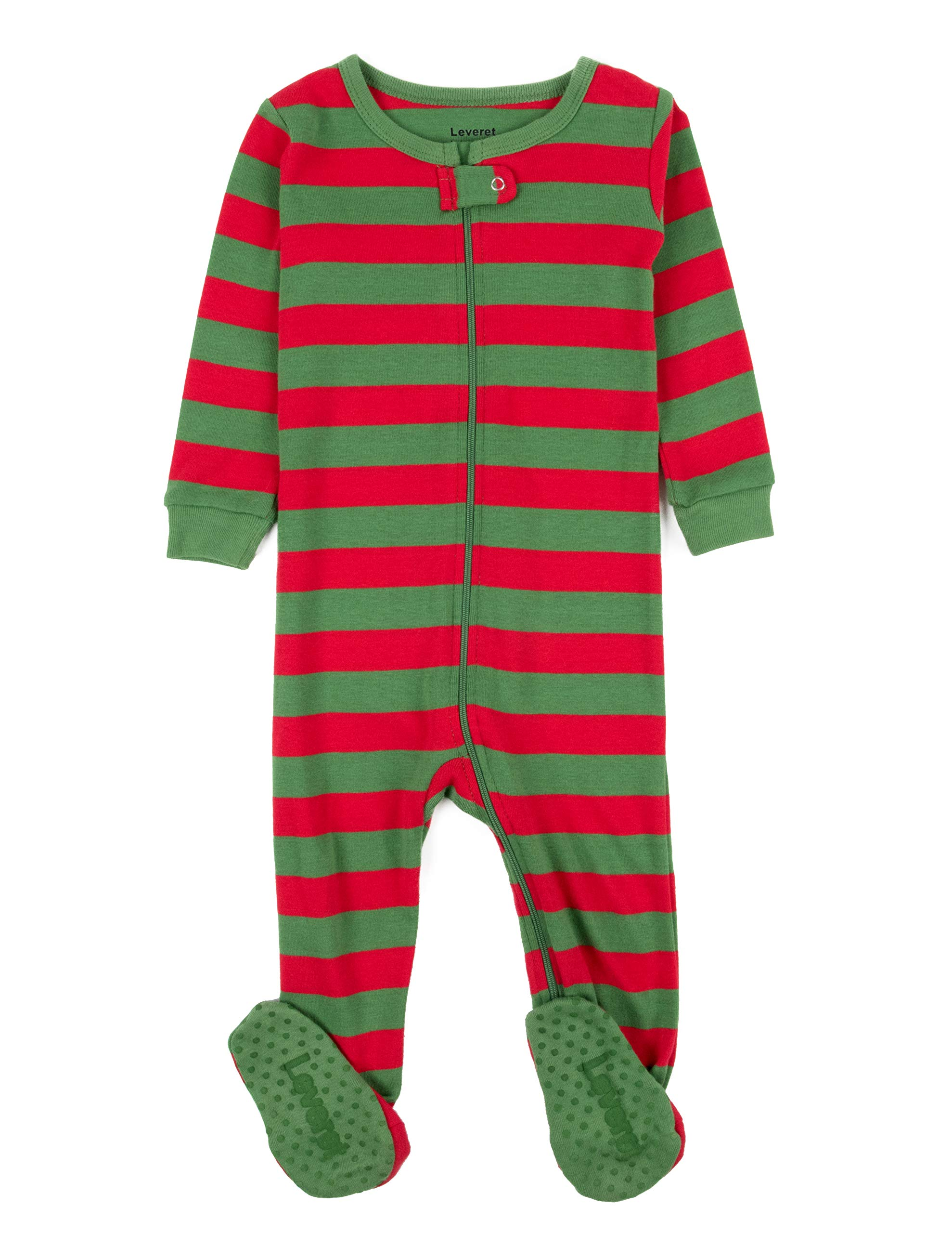 Leveret Kids Red & Green Baby Boys Girls Footed