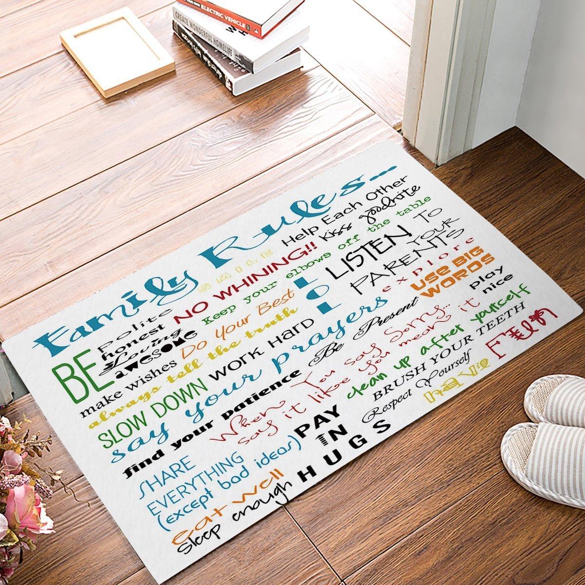 Home Customize Country Wood Family Rules Doormat Entrance Mat Floor Mat Rug Indoor//Front Door//Bathroom Mats Non Slip 20X31.5 inch Fandim Fly