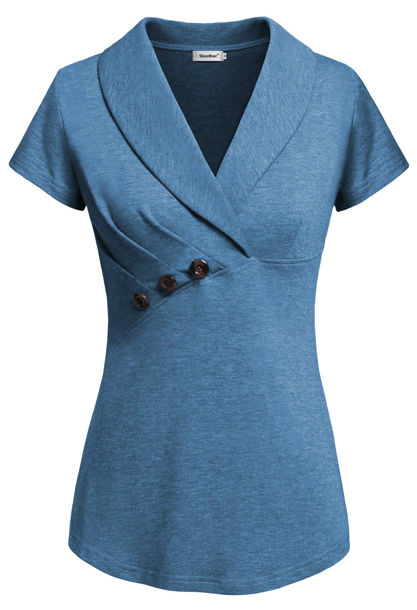 Sixother Woman's Shirt for Summer, Casual Summer Tops for Women Short Sleeve Blouse Business Shirt Soild Color Stylish Botton Blouse Shirt Ladies Blue XL