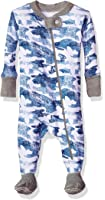Burt's Bees Baby Baby Boys' Soft Organic GOTS Certified All Over Print Zip Front Non-Slip Footed Sleeper Pajamas, Blue Star Distressed Camo, 24 Months