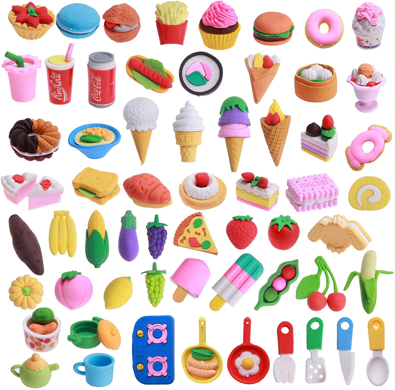 Greentime 60 Food Erasers, Puzzle Erasers Assembly Desert Erasers 3D Mini Erasers for Barbie Food Classroom Supplies Games Prizes Carnival Gifts