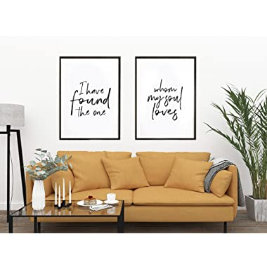 I Have Found The One Whom My Soul Loves / Set of 2 Prints / Song of Solomon 3:4 / Scripture Art / Above Bed Artwork / Large Prints / Love His And Hers Art (27 x 40 Inches)