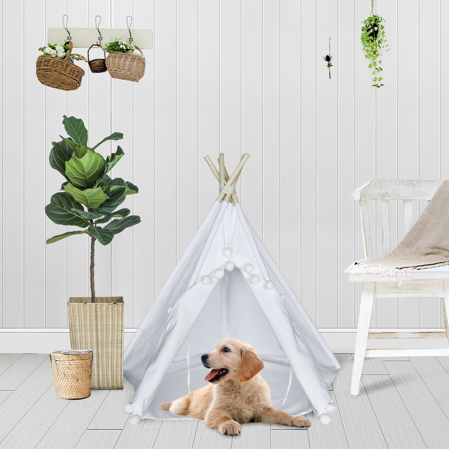 Amazon.com : UKadou Pet Teepee Tent for Dogs Cats Foldable Portable ...