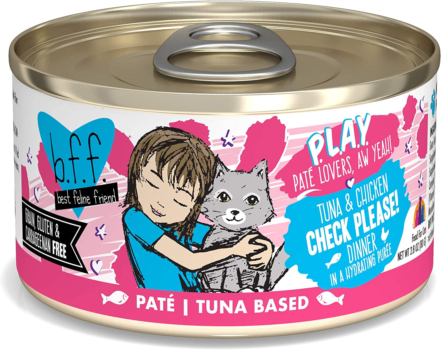 B.F.F. PLAY - Best Feline Friend Pate Lovers aw Yeah! Grain-Free Natural Wet Cat Food Cans, Tuna Pate Recipes