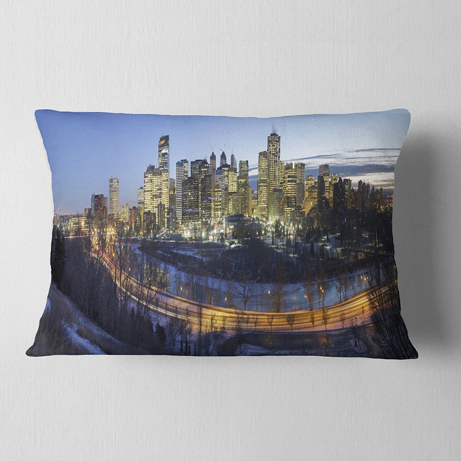 in Insert Printed On Both Side Designart CU7364-12-20 Downtown Calgary Cityscape Photo Lumbar Cushion Cover for Living Room x 20 in Sofa Throw Pillow 12 in