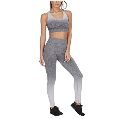c6d01d8ce5077 Metzuyan Ladies Ombre Gym Sports Set Leggings   Sports Bra  Amazon ...