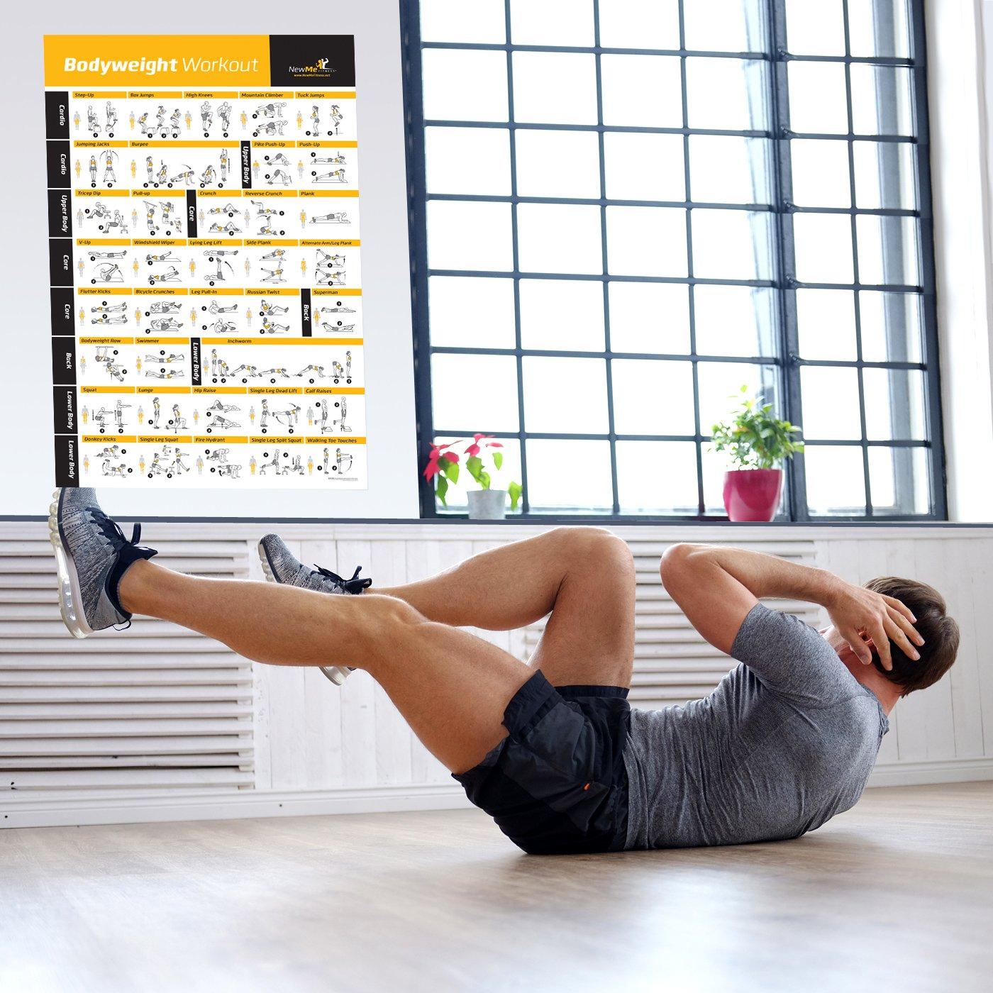 Póster de ejercicios y entrenamiento para perder peso NewMe Fitness. Programa de buena forma, entrenador personal. Póster de gimnasio en casa.
