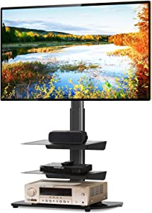 5Rcom Universal TV Floor Stand with 3 Shelves for 27 32 37 42 47 50 55 inch Plasma LCD LED Flat or Curved Screens TVs Corner TV Stand with Swivel Mount and Height Adjustable,Black