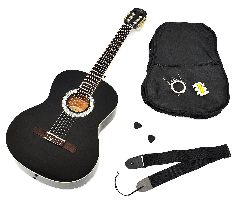 Ts-Ideen 1791 - Guitarra acústica 4/4 con accesorios (funda, correa, afinador de silbato, cuerdas y púas)