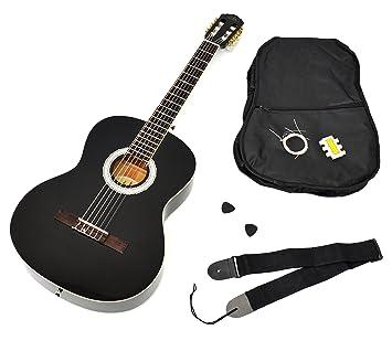 Ts-ideen - Guitarra clásica (tamaño 4/4, con diapasón de palisandro, incluye funda acolchada, correa, cuerdas y silbato afinador), color negro: Amazon.es: ...