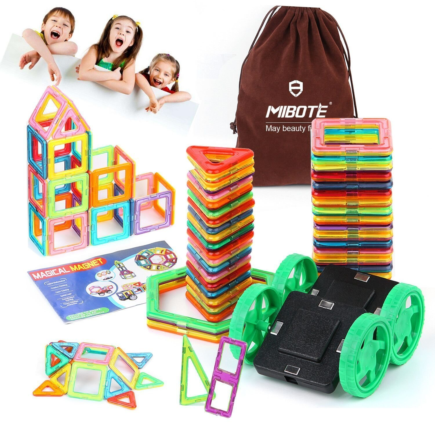 45 PCS Magnetic Building Blocks Educational Stacking Blocks