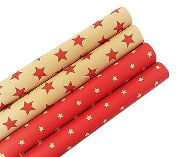 Paper Media Lot De 6 Rouleaux De Papier Cadeau Rétro écologique Avec étoiles Pour Anniversaires Pâques Ou Noël