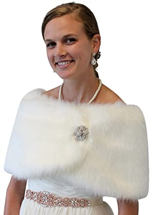 fbc6672cceb Bridal fur shawl wrap