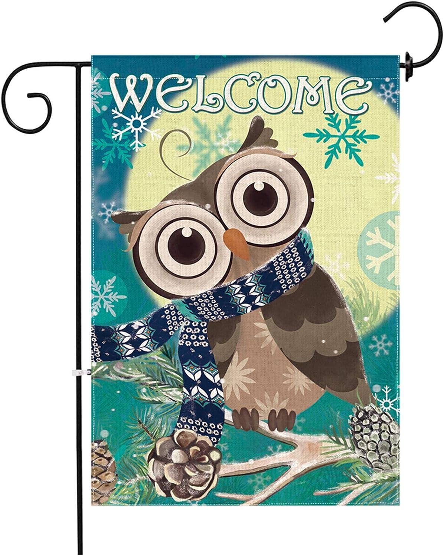 Hexagram Winter Owl Flag,Burlap Christmas Winter Garden Flags,Outdoor Turning Head Owl Decorative Welcome Sign,Double Sided Seasonal Garden Flags 12x18 Prime