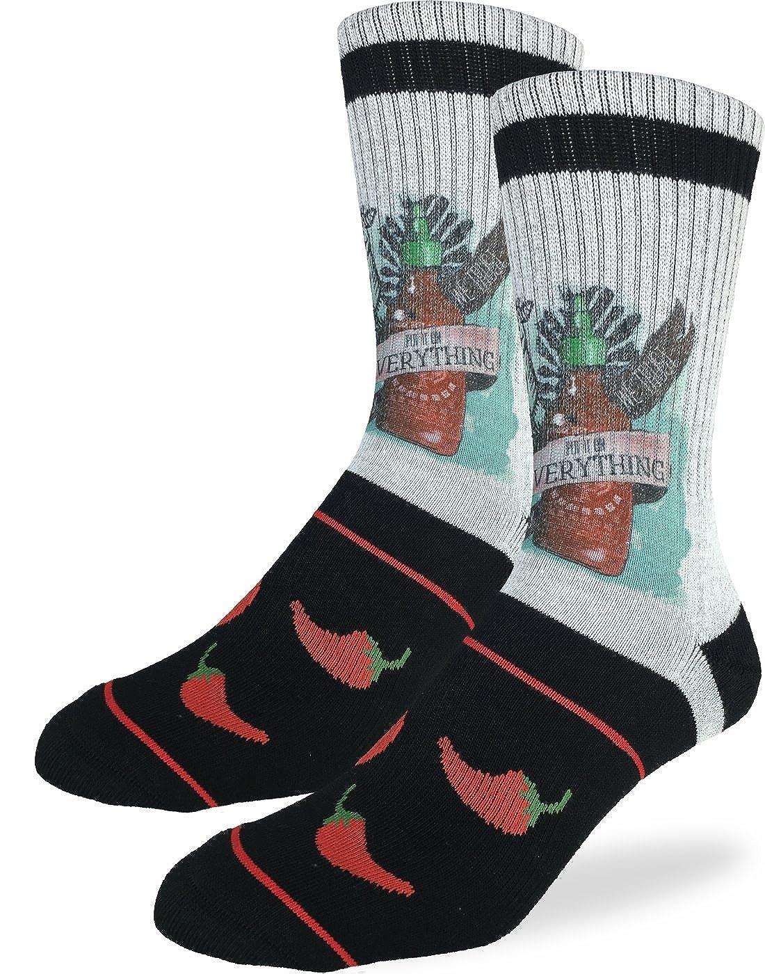 Good Luck Sock Men's Sriracha Crew Socks - Grey, Adult Shoe size 8-13 4042