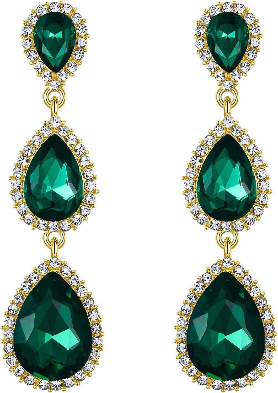 EleQueen Women's Gold-tone Austrian Crystal Teardrop Pear Shape 2.5 Inch Long Earrings Emerald Color