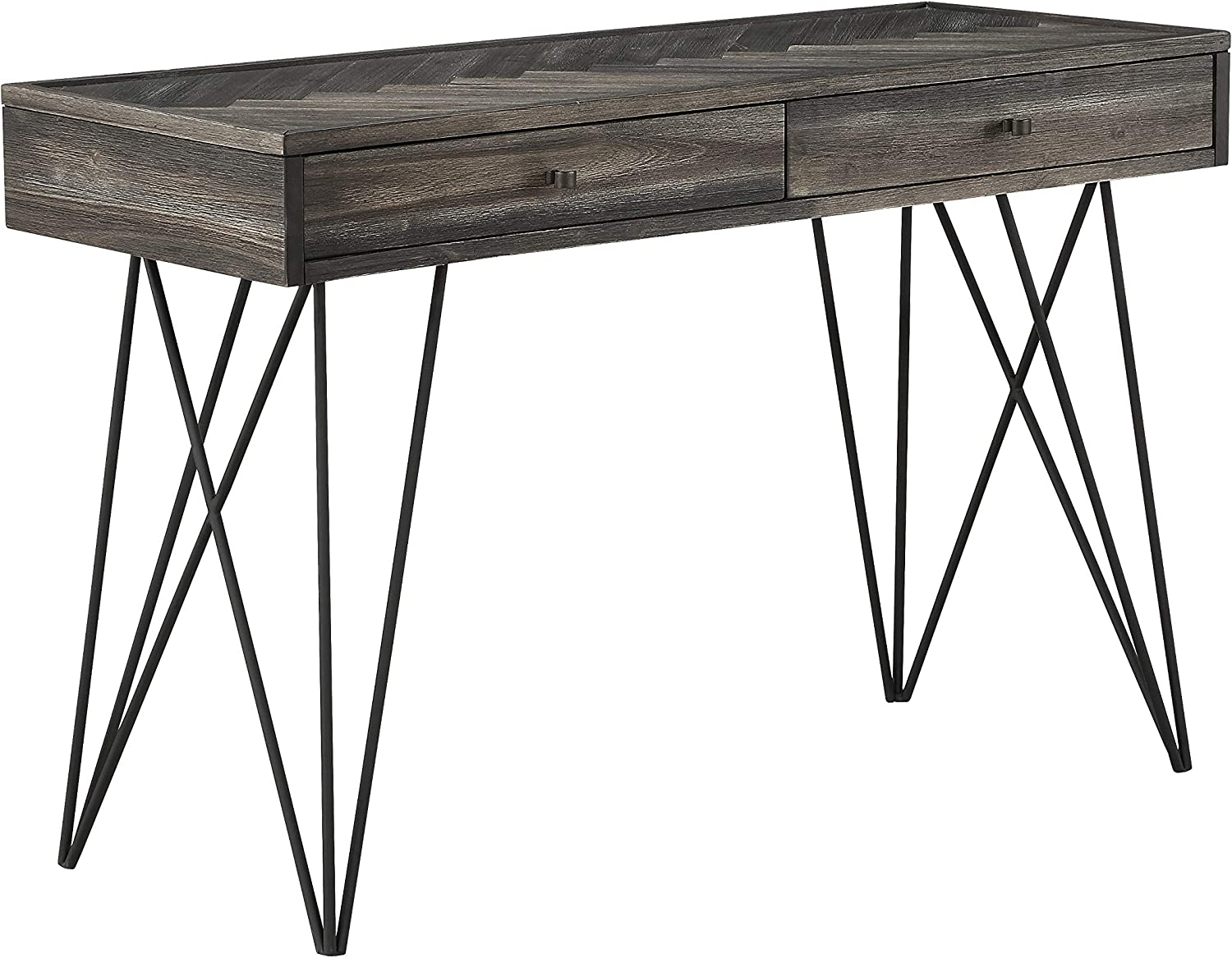 "Aspen Court 47"" Wide Herringbone Wood 2-Drawer Console Table"