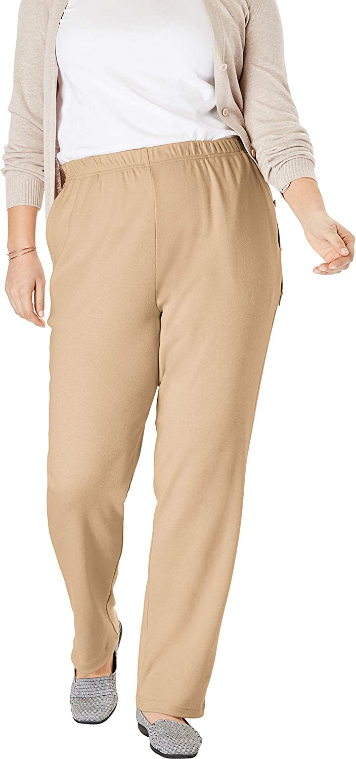 Woman Within Womens Plus Size Tall 7-Day Knit Straight Leg Pant