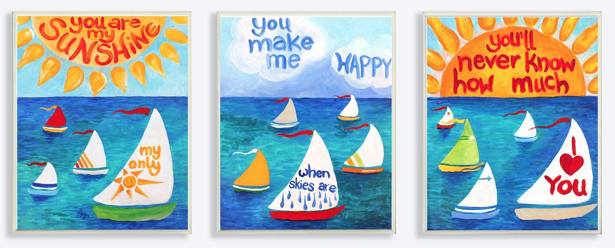 The Kids Room by Stupell You are My Sunshine Sailboats 3-Pc Rectangle Wall Plaque Set, 11 x 0.5 x 15, Proudly Made in USA by The Kids Room by Stupell