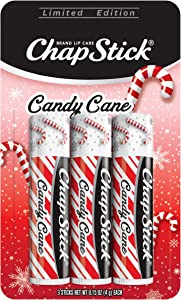 ChapStick Candy Cane Flavor, Includes Three Lip Balm Sticks, Skin Protectant, Lip Care, 0.15 Ounce