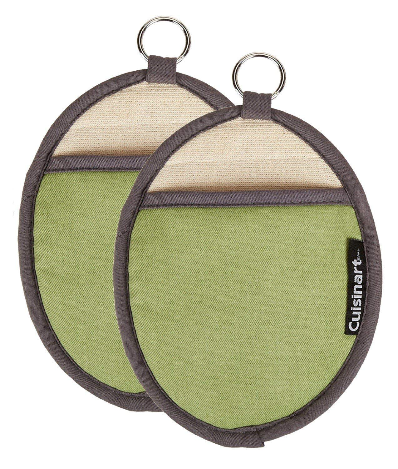Cuisinart Silicone Oval Pot Holders and Oven Mitts - Heat Resistant, Handle Hot Oven / Cooking Items Safely - Soft Insulated Pockets, Non-Slip Grip and Convenient Hanging Loop - Green, Pack of 2 Mitts