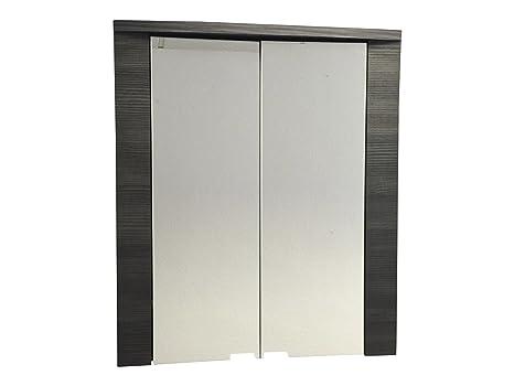 trendteam Camerino de baño con espejo Espejo Xpress, 60 x 70 x 20 cm, cuerpo en acabado fresno gris, frente en blanco con mucho espacio