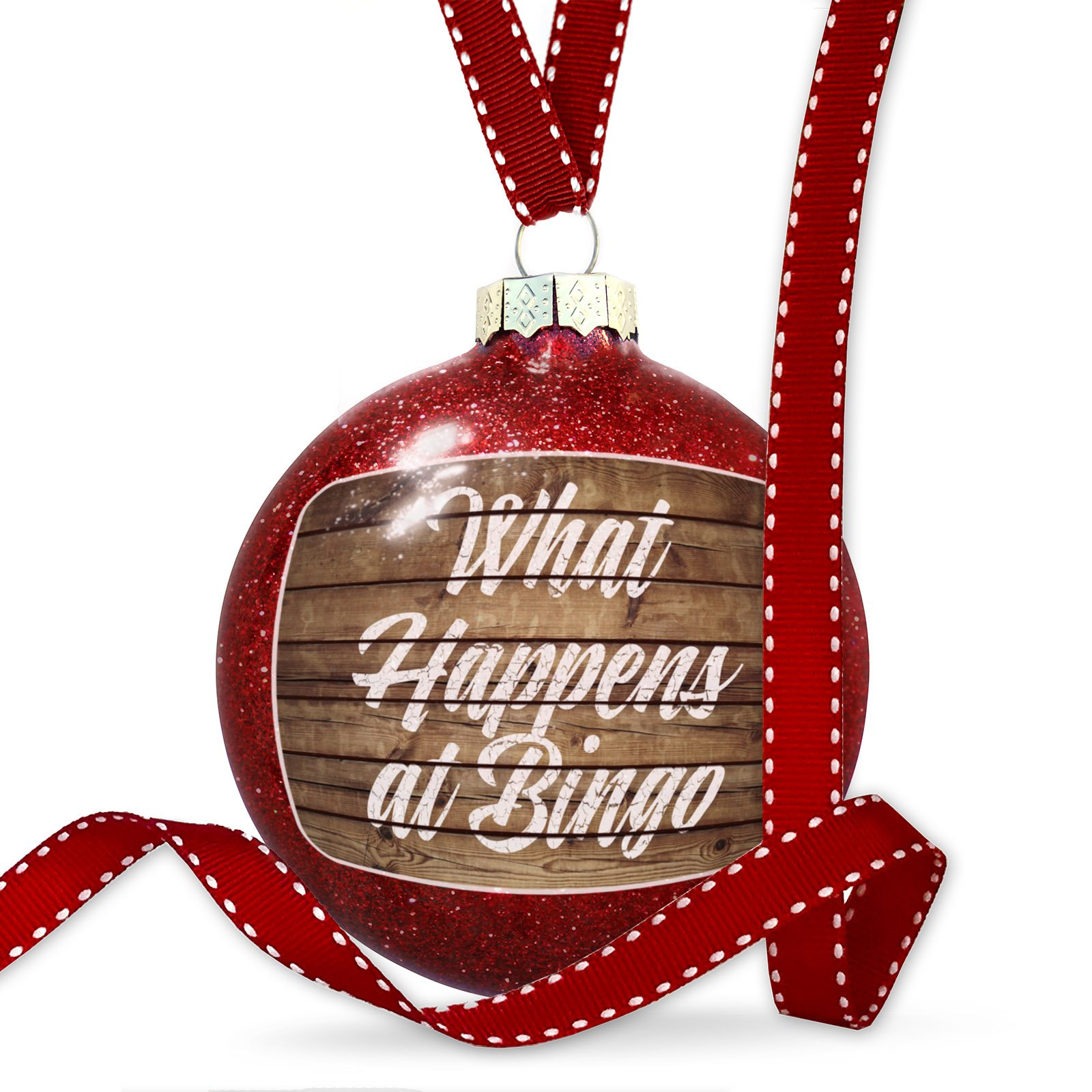 Christmas Decoration Painted Wood What Happens at Bingo Ornament by NEONBLOND
