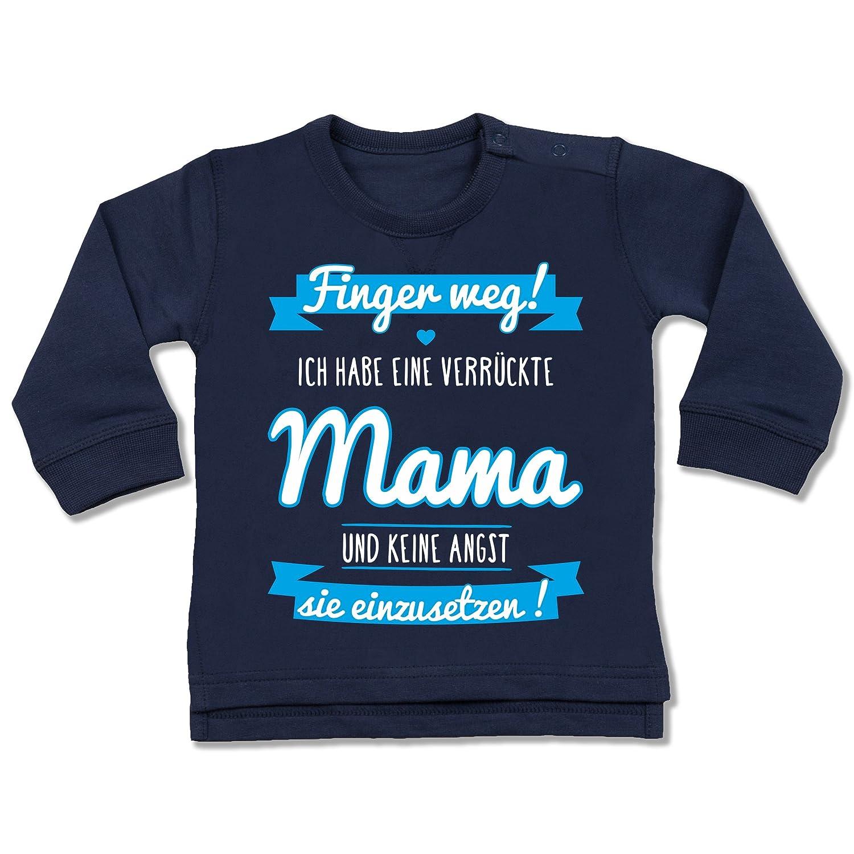 Shirtracer Sprüche Baby - ich Habe eine verrückte Mama blau - Baby Pullover BZ31