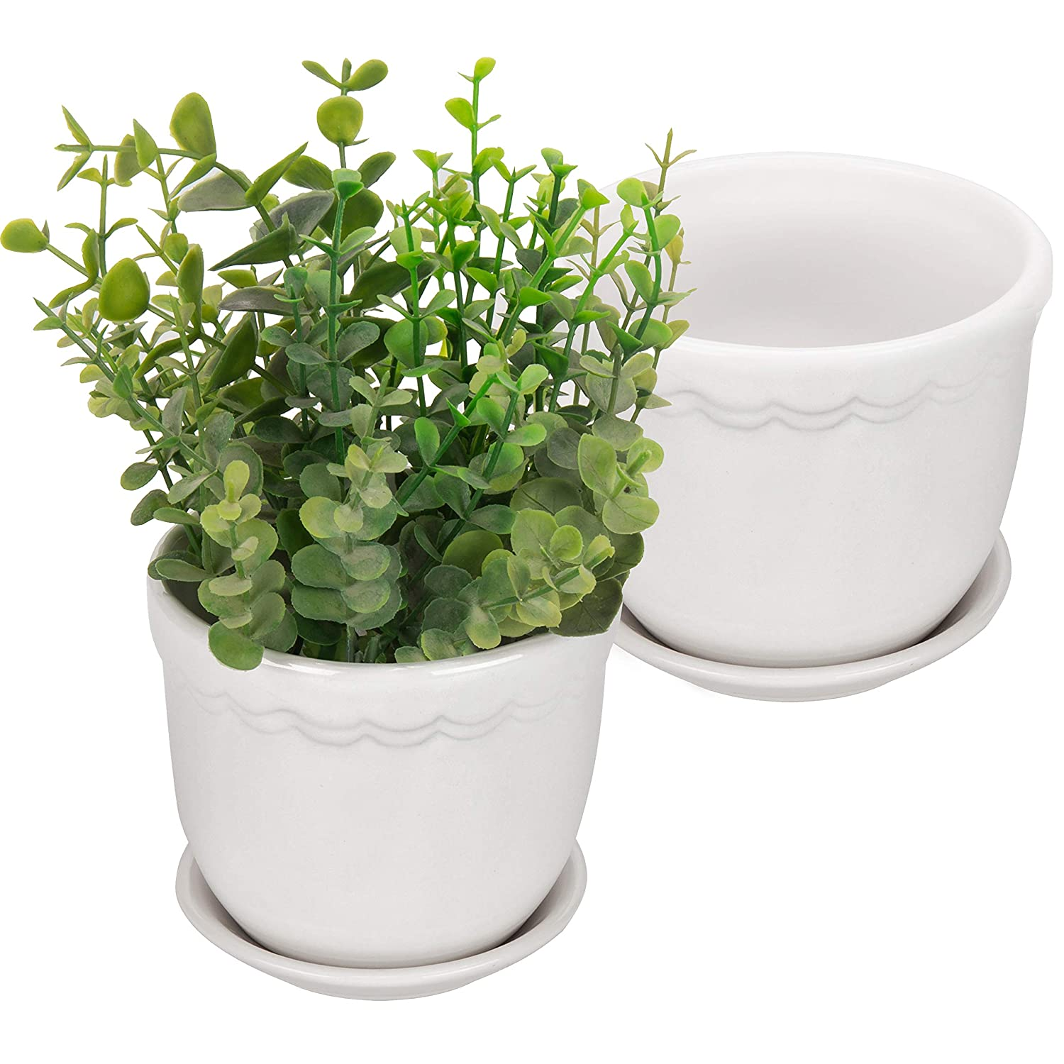 MyGift 4-Inch White Scallop Design Ceramic Planters with Removable Saucers, Set of 2