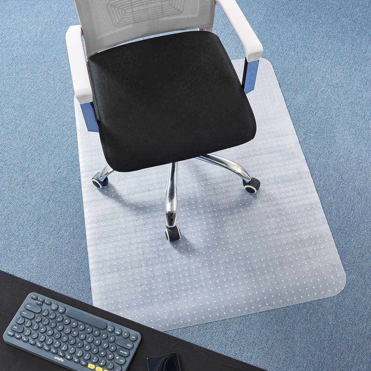 DAVID.ANN 36'' x 48'' Vinyl (PVC) Rectangular Chair Mat for Very Low Pile Carpets (Transparent)